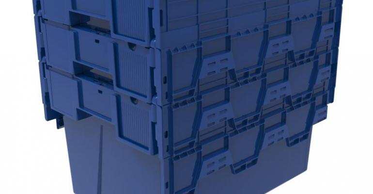 Damage-resistant attached lid container design reduces transit costs